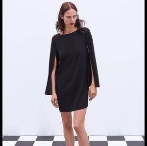 NWT Zara Cape Sleeve Dress Black Small S 2576/840